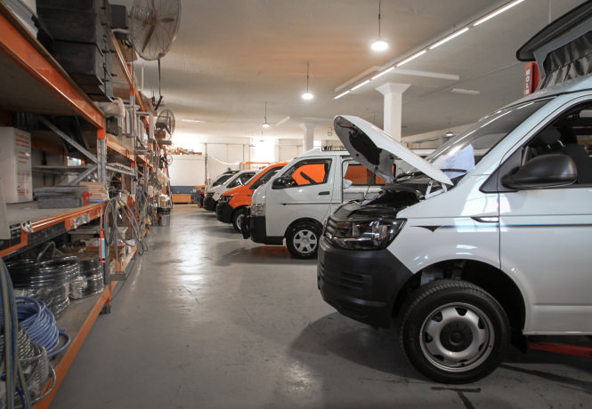 Frontline VW T6 and Toyota Hiace Campervans in Sydney Brookvale factory