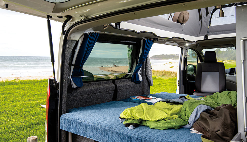 Toyota Hiace Frontline Campervan cabin open view out to beach