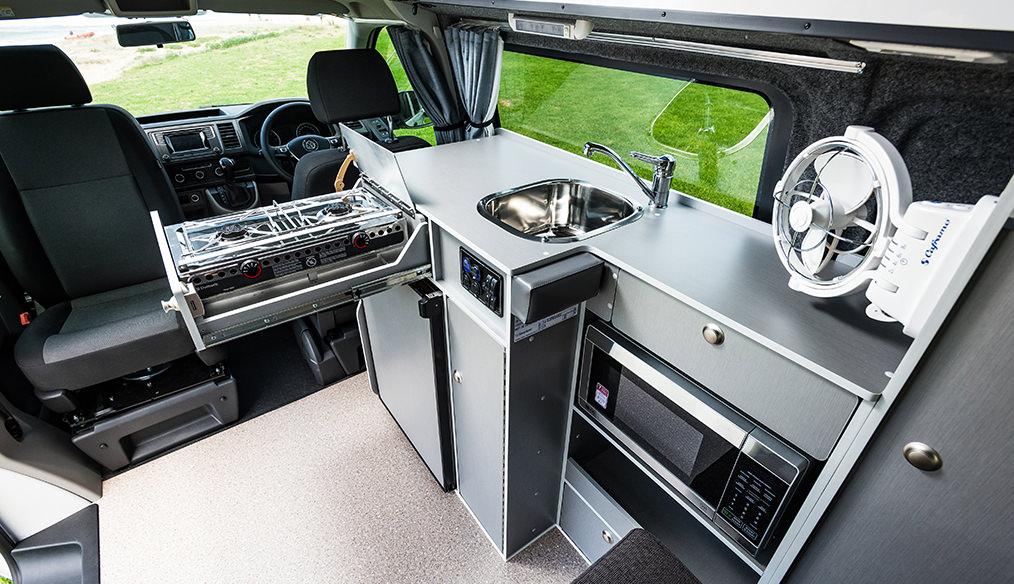 VW T6 Transporter Frontline Campercan interior cabin kitchenette