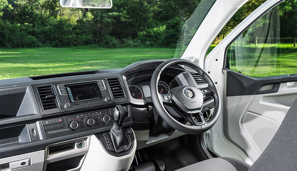 VW T6 Transporter Frontline Campervan interior cabin drivers seat steering