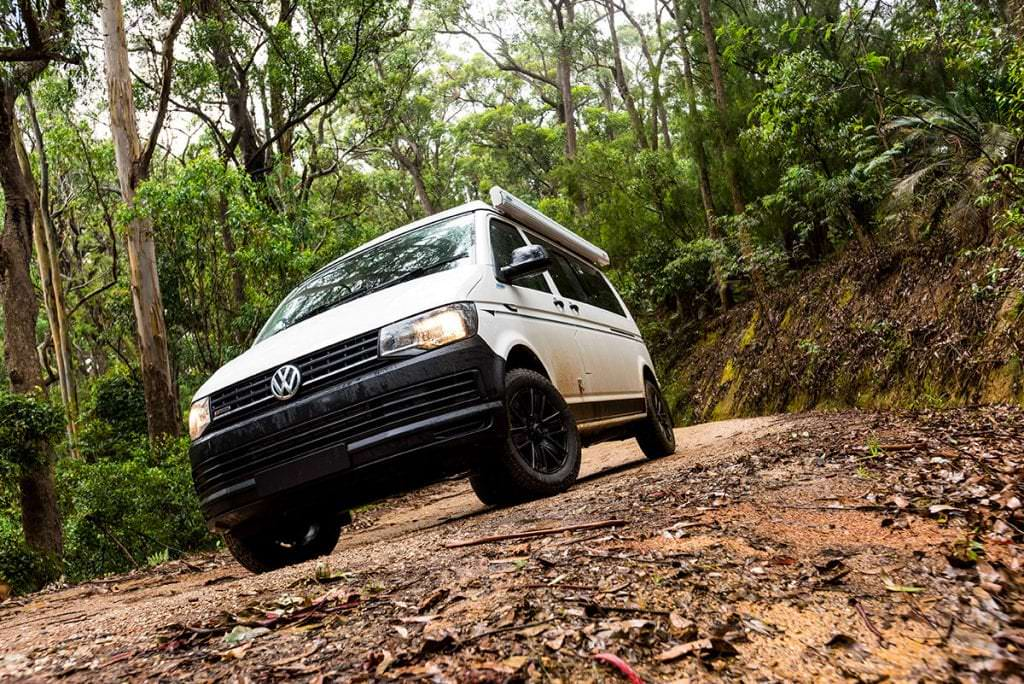 WV T6 Transporter Frontline Campervan driving off road in Australia bush